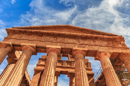 valley of the temples: Valley of Temples, Agrigento Sicily in Italy. Famous ancient greek temples of Agrigento, Sicily on a warm autumn day. Mediterranean atmosphere Stock Photo