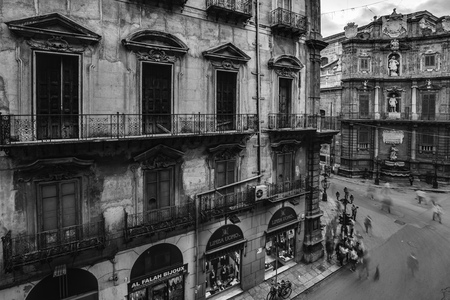 monument historical monument: Quattro Canti in Palermo Sicily. Vintage Black and White Architecture of this historical monument in Italy Stock Photo