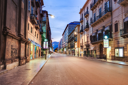 late summer: PALERMO, ITALY - OCTOBER 25 2015: Buildings in the City of Palermo on a warm late summer day
