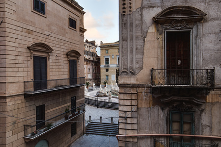 monument historical monument: PALERMO, ITALY - OCTOBER 20 2015: Quattro Canti in Palermo Sicily. Architecture of this historical monument in Italy