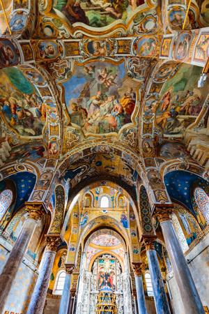 interior shot: PALERMO, SICILYITALY - OCTOBER 25 2015: Interior shot of the famous church of Santa Maria dell AmmiraglioLa Martorana in Palermo in Sicily, Italy Editorial