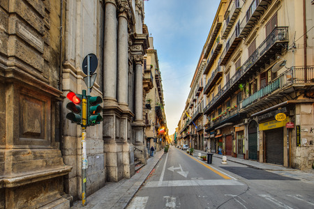 four corners: PALERMO, ITALY - OCTOBER 28 2015: Buildings in the City of Palermo, Sicily on a warm late october day. Four Corners of Palermo