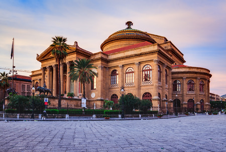 massimo: PALERMO, ITALY - OCTOBER 25 2015: Teatro Massimo Opera Building of Palermo, Sicily on a warm october morning