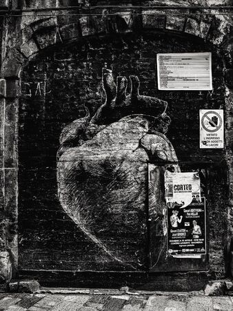 palermo   italy: PALERMO, ITALY - NOVEMBER 01 2015: Picture from the stormy and wet November 1st in the sicilian capital of Palermo, Italy. Vintage Sepia Black and White Editorial