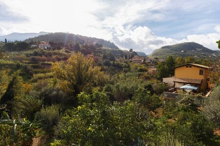 captivating: Captivating Sicilian Subtropical Fall Landscape south og Palermo, Italy Stock Photo