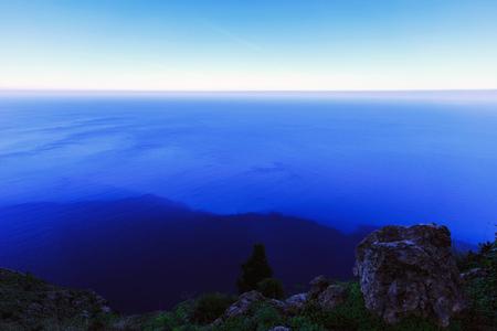 subtropical: Deep blue sea at subtropical Capo Gallo in Fall November Stock Photo