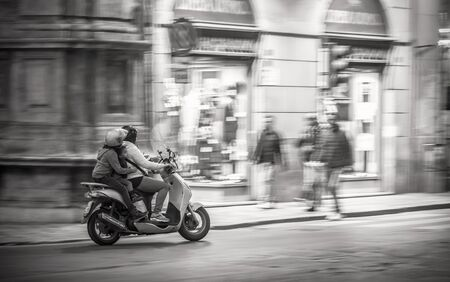 palermo: PALERMO, ITALY - NOVEMBER 22 2015: Black and White Scene from the streets of Palermo in Fall November in the evening