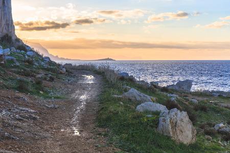 palermo   italy: Gorgeous Sicilian Coastal Landscape. Captivating December Panorama from the sea near Palermo, Italy Stock Photo