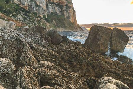 captivating: Gorgeous Sicilian Coastal Landscape. Captivating December Panorama from the sea near Palermo, Italy Stock Photo