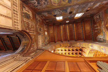 atmospheric: MONREALE, ITALY - JANUARY 05 2016: Interior Cathedral of Monreale. Travel and Tourist Destination. Christian Catholic Medieval Architecture