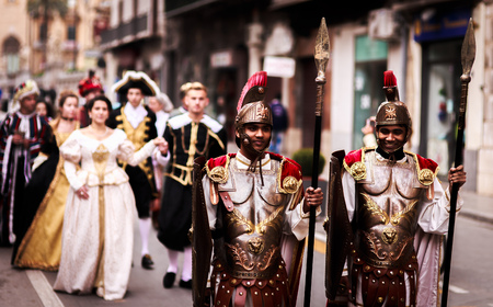 PALERMO, ITALY - JANUARY 06 2016: Epiphany of Christ in Palermo, Sicily. Thelfth Day in the capital of Sicily. Living Nativity Set in the Streets of the City