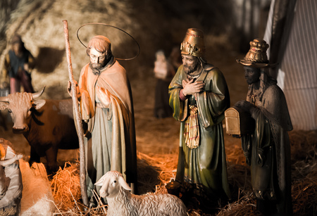 nativity set: PALERMO, ITALY - JANUARY 06 2016: Epiphany of Christ in Palermo, Sicily. Thelfth Day in the capital of Sicily. Giant Nativity Set in a Church