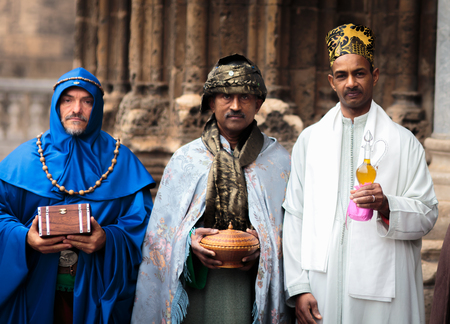 nativity set: PALERMO, ITALY - JANUARY 06 2016: Epiphany of Christ in Palermo, Sicily. Thelfth Day in the capital of Sicily. Living Nativity Set in the Streets of the City