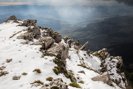fantastic view: Mountain Cammarata in Central Sicily. Snow on the Mountain on a fresh January day with fantastic view