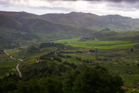 wandering: Trekking in the Highlands of Sicily. Wandering in the Mountains of Pizzo Cane near Palermo, Italy on a stormy day