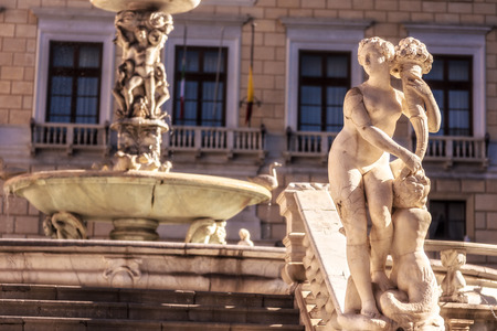 Fountain of Shame at the Piazza Pretoria. Old Town of the City of Palermo on Sicily in Italy, Europe. Vibrant Colors. Detail Picture of the historical architecture