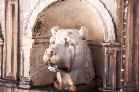 disgrace: Fountain of Shame at the Piazza Pretoria. Old Town of the City of Palermo on Sicily in Italy, Europe. Vibrant Colors. Detail Picture of the historical architecture
