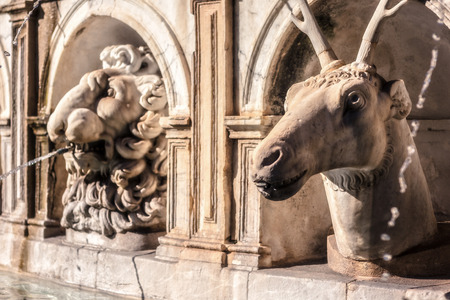 beauty fountain: Fountain of Shame at the Piazza Pretoria. Old Town of the City of Palermo on Sicily in Italy, Europe. Vibrant Colors. Detail Picture of the historical architecture