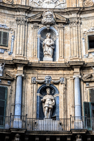 four corners: Old Town of the City of Palermo on Sicily in Italy, Europe. Vibrant Colors. Detail Picture of the historical architecture at the Four Corners, the Quattro Canti