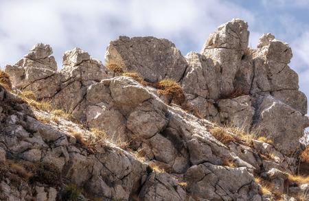 Facendo un'escursione nelle colline di Ficuzza, la Sicilia in Italia, Europa. Calda estate come settembre pomeriggio Archivio Fotografico - 87593932