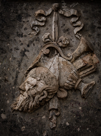 PALERMO, ITALY - OCTOBER 09 2017: sepia colored image on a grave in the city of Palermo, Italy