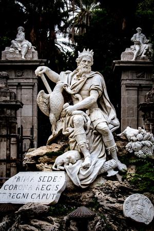 PALERMO, ITALY - OCTOBER 09 2017: Statue of the city god of Palermo in Italy in front of the botanical garden Reklamní fotografie