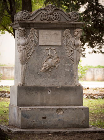 PALERMO, ITALY - OCTOBER 09 2017: Gravestone in a Park of Palermo, Italy
