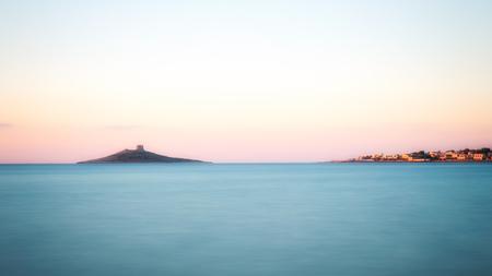 Little Island in the Sea, soft blue sea