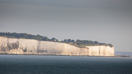 White Cliffs of Dover in the Morning Hours, lit by sunlight