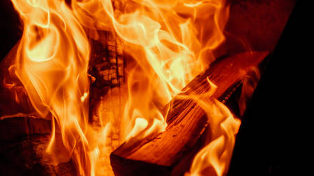 fire: burning wood in the fireplace. Stock Photo