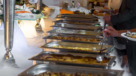 Buffet line of lunch and dinner.