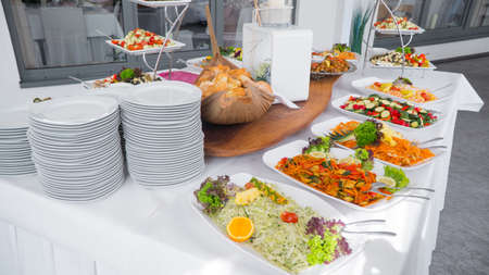 Buffet food, catering food party at restaurant.