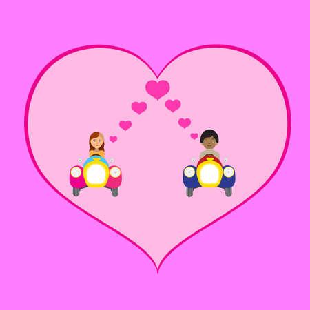 heterosexual: Dating Couple By Car Love