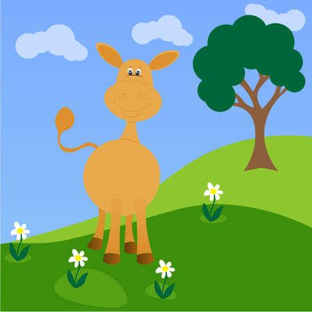 baby ass: Funny little donkey on flower field.