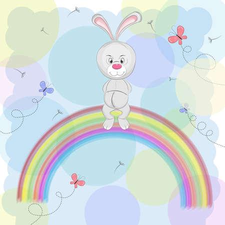 Cartoon a cute happy rabbit sitting on the rainbow.