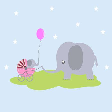 Cute cartoon greeting card, baby elephant gift to elephant mama.