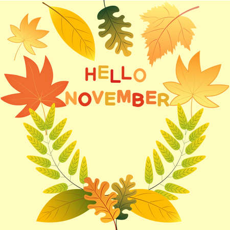 Hello novemder! Colored autumn leaves. Sketch, design elements. Vector illustration. Illustration