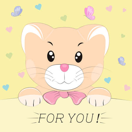 Good cute cat. Greeting card.Yellow background