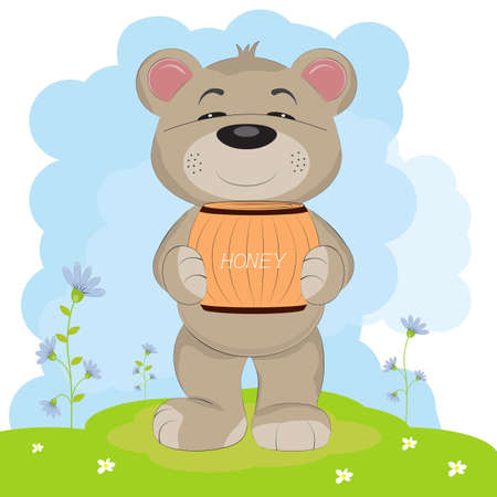 Cartoon a cute happy bear carrying a barrel of honey. Greeting card.