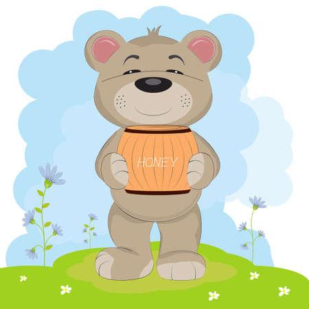 Cartoon a cute happy bear carrying a barrel of honey. Greeting card.