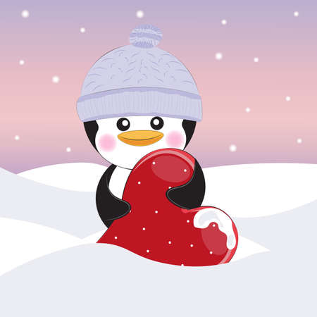 Greeting card cute cartoon pinguin with heart on a gray background. Vector illustration Illustration