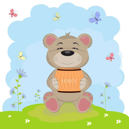 Cartoon a cute happy bear sits on the ground. Illustration done in cartoon style. Illustration