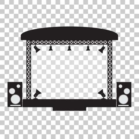 Etapa de concierto y equipo musical diseño plano simpl. Ilustración vectorial