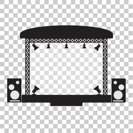 Concert stage and musical equipment simpl flat design. Vector illustration