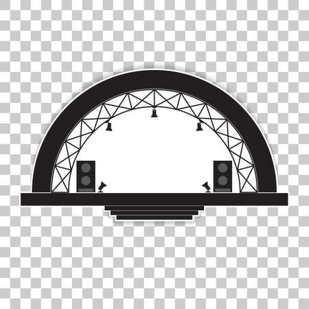 Concert stage and sound speakers. Vector illustration on a transparent background. Vectores
