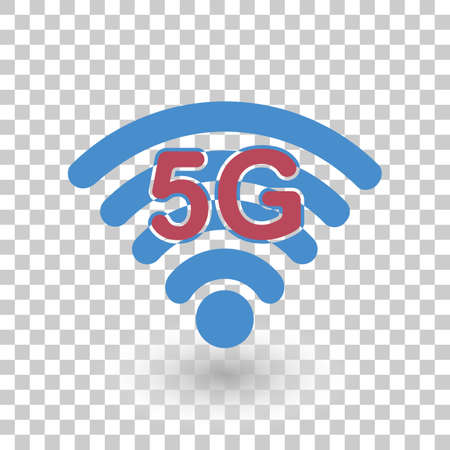 Vector Icon 5G Wireless Internet Network Connection on a transparent background. Mobile devices.
