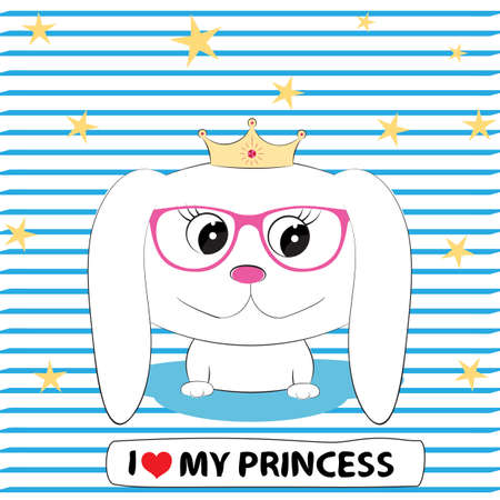 Cute dog girl princess in in glasses with a crown on his head. Illustration