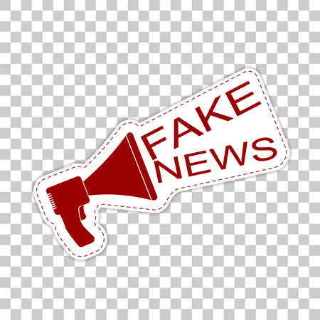 Fake news. Sticker badge with megaphone icon.
