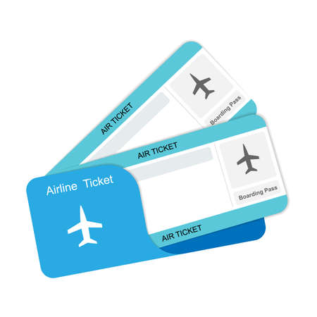 Modern airline travel boarding pass two tickets. Vector template.