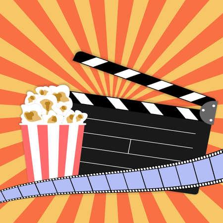 Clapper board with popcorn, filmstrip on vintage grunge poster. Vector illustration